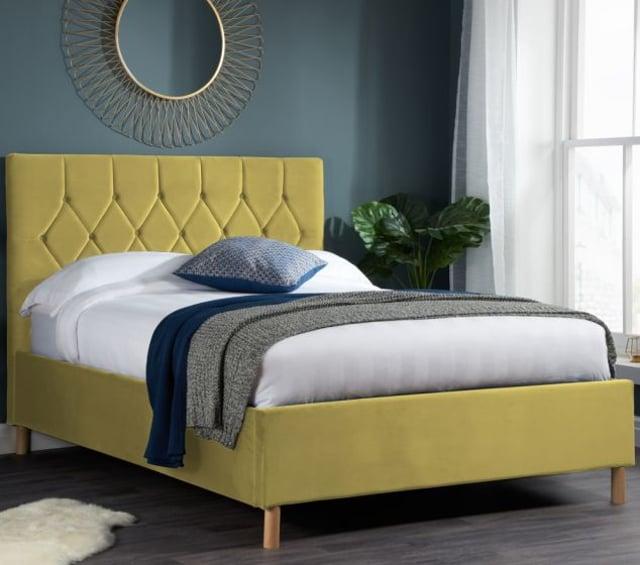 Loxley Mustard Velvet Bed