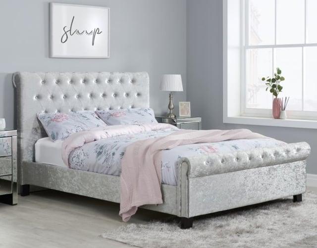Sienna Steel Crushed Velvet Fabric Bed