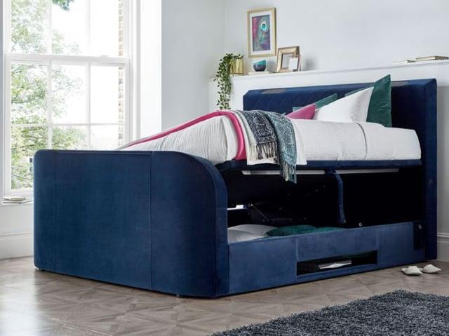 Paris Blue Velvet Fabric Ottoman Electric Media TV Bed