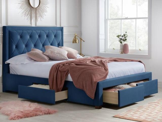 Woodbury Blue Velvet Fabric 4 Drawer Storage Bed