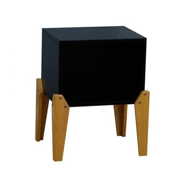 Solar Joybox Black and Oak Wooden Bedside Table