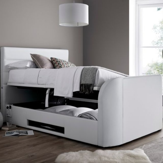 Annecy White Leather Ottoman Media Electric TV Bed