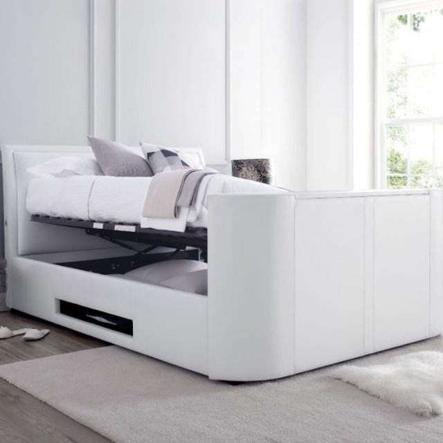 Ardwick White Leather Ottoman Media Electric TV Bed