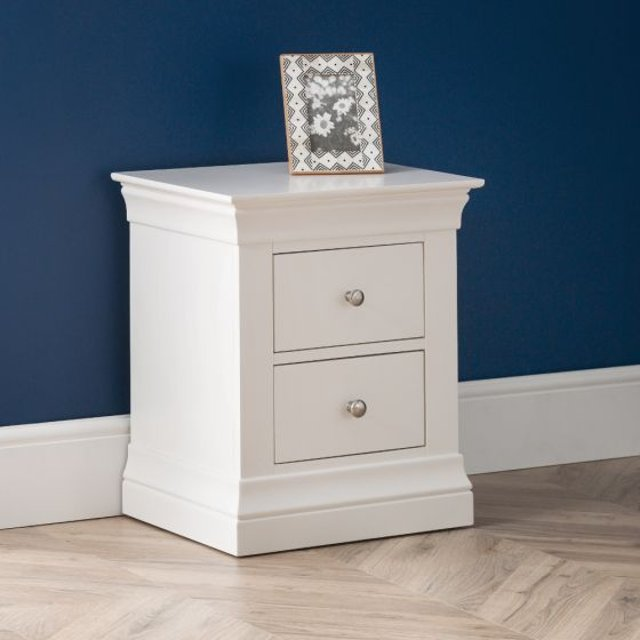 Clermont White Wooden 2 Drawer Bedside Table