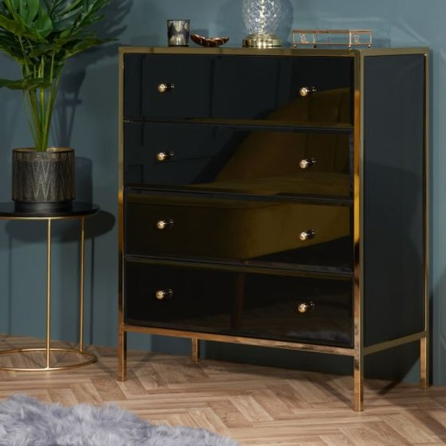 Fenwick Black and Gold 4 Drawer Chest