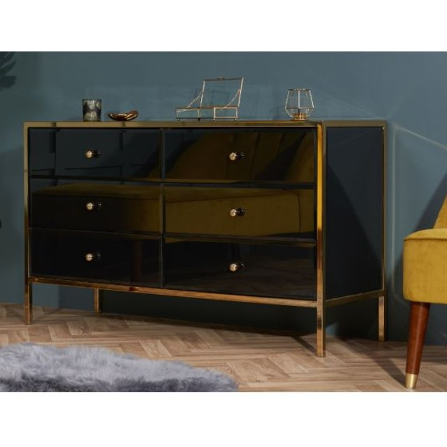 Fenwick Black and Gold 6 Drawer Chest