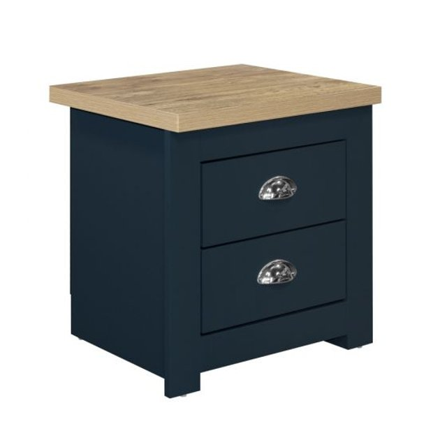 Highgate Navy Blue and Oak Wooden 2 Drawer Bedside Table