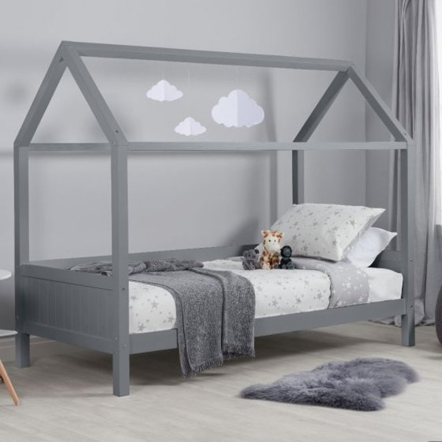 Home Grey Wooden Treehouse Bed