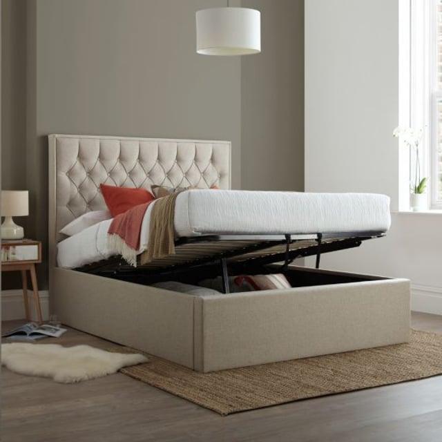 Wilson Oatmeal Fabric Ottoman Storage Bed