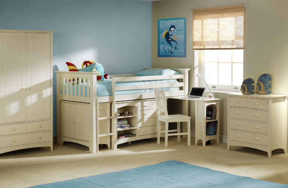 Cameo Stone White Wooden Children's Bedroom Furniture Collection