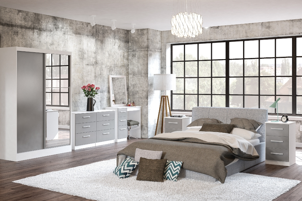 Lynx White and Grey Wooden Bedroom Furniture Collection