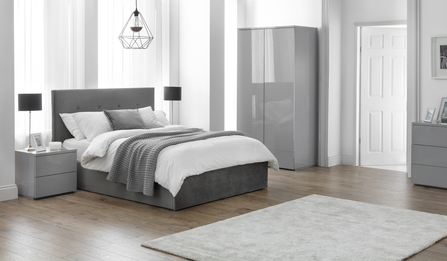 Monaco Grey Wooden Bedroom Furniture Collection