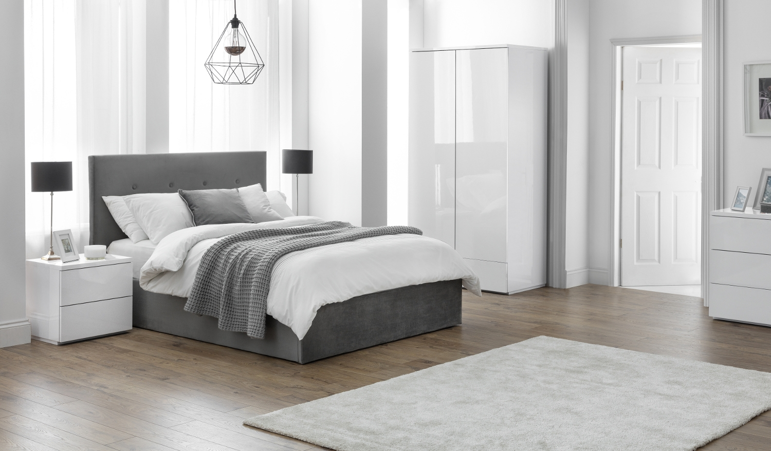 Monaco White Wooden Bedroom Furniture Collection