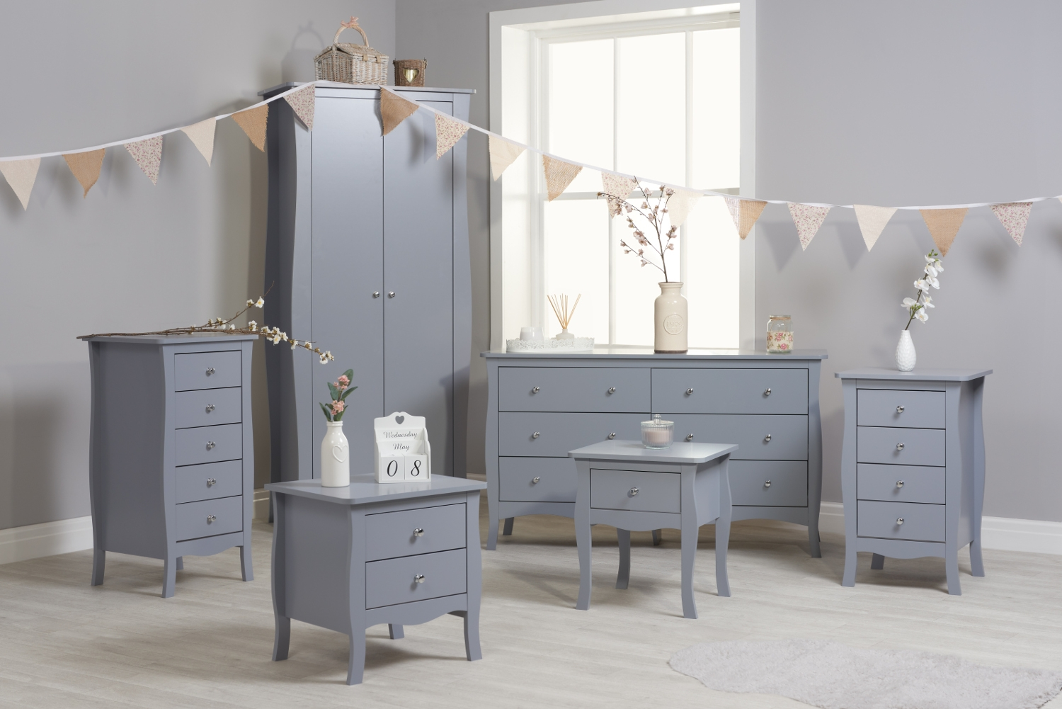 Paris Grey Wooden Bedroom Furniture Collection