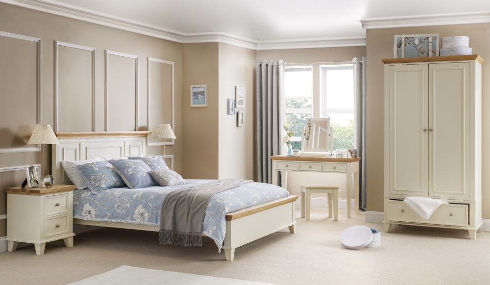 Portland Stone White and Oak Wooden Bedroom Furniture Collection