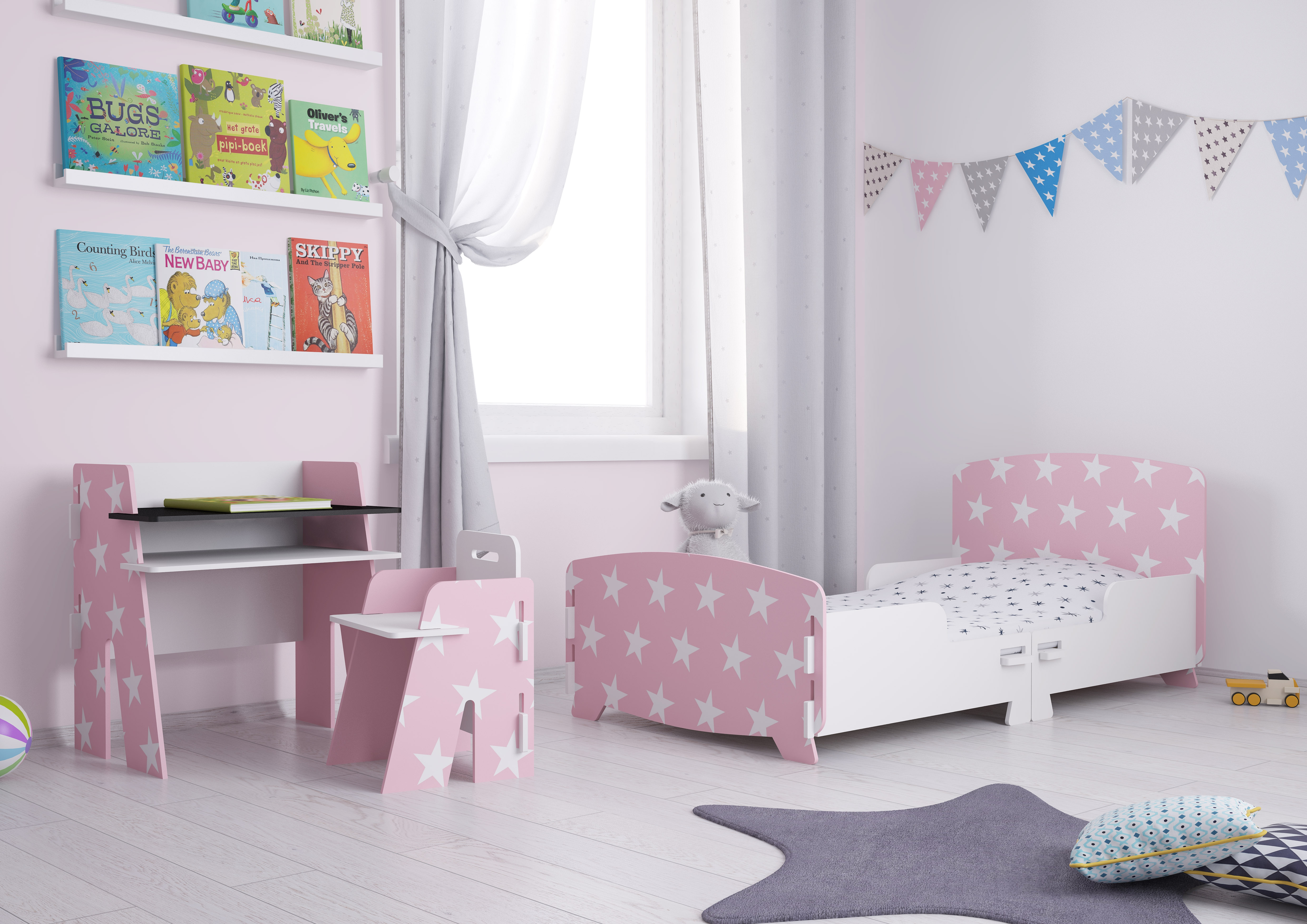 Star Pink and White Children's Bedroom Furniture Collection