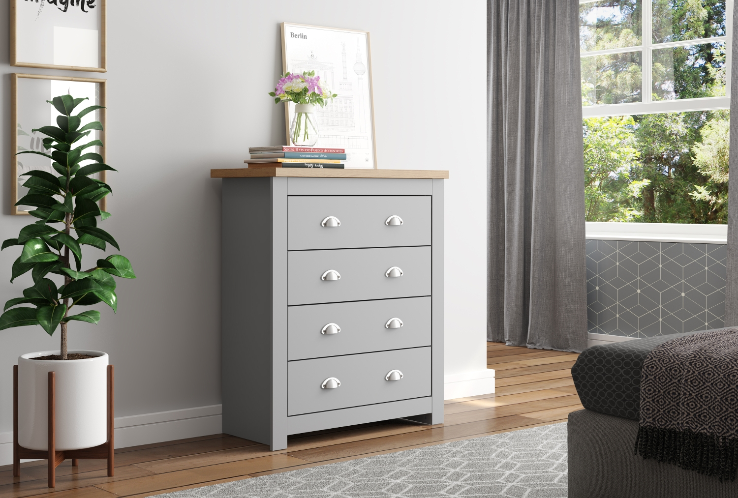 Winchester Grey and Oak Wooden Bedroom Furniture Collection