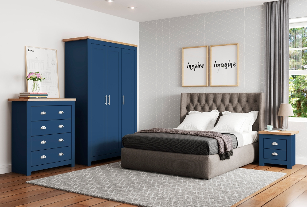 Winchester Navy Blue And Oak Wooden, Navy Blue Bedroom Furniture