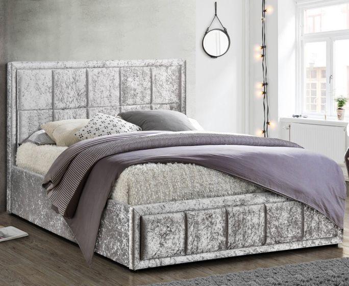Hannover Steel Velvet Fabric Bed
