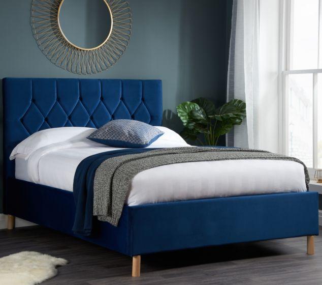 Loxley Blue Velvet  Bed