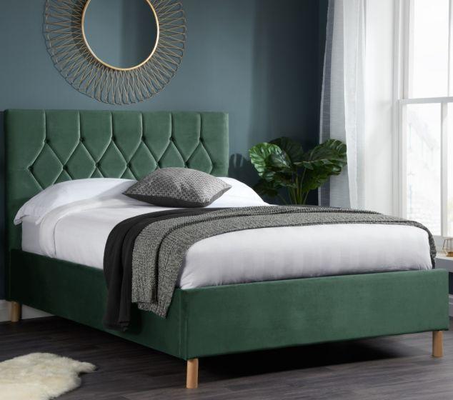 Loxley Green Velvet  Bed