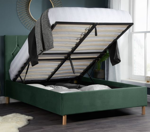 Loxley Green Velvet Fabric Ottoman Storage Bed