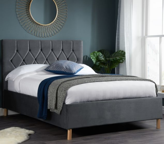 Loxley Grey Velvet Bed