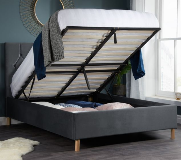 Loxley Grey Velvet Fabric Ottoman Storage Bed