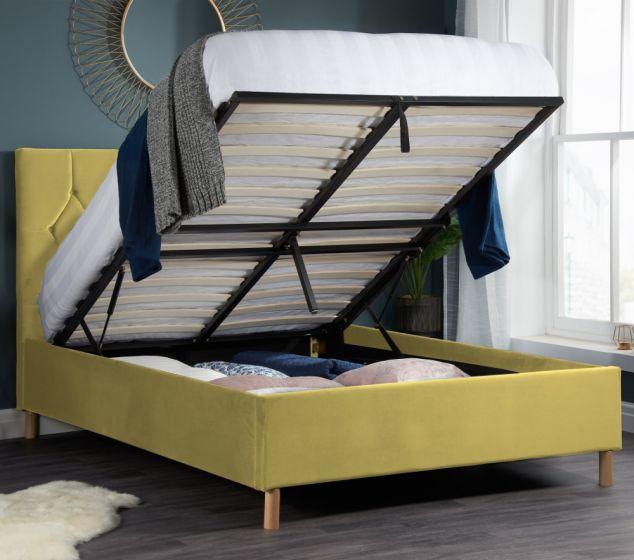 Loxley Mustard Velvet Fabric Ottoman Storage Bed