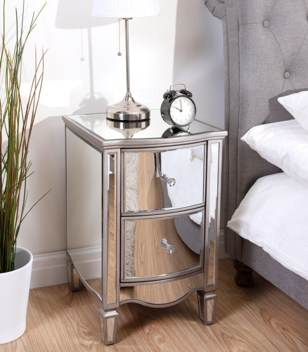 Elysee Mirrored 2 Drawer Bedside Table