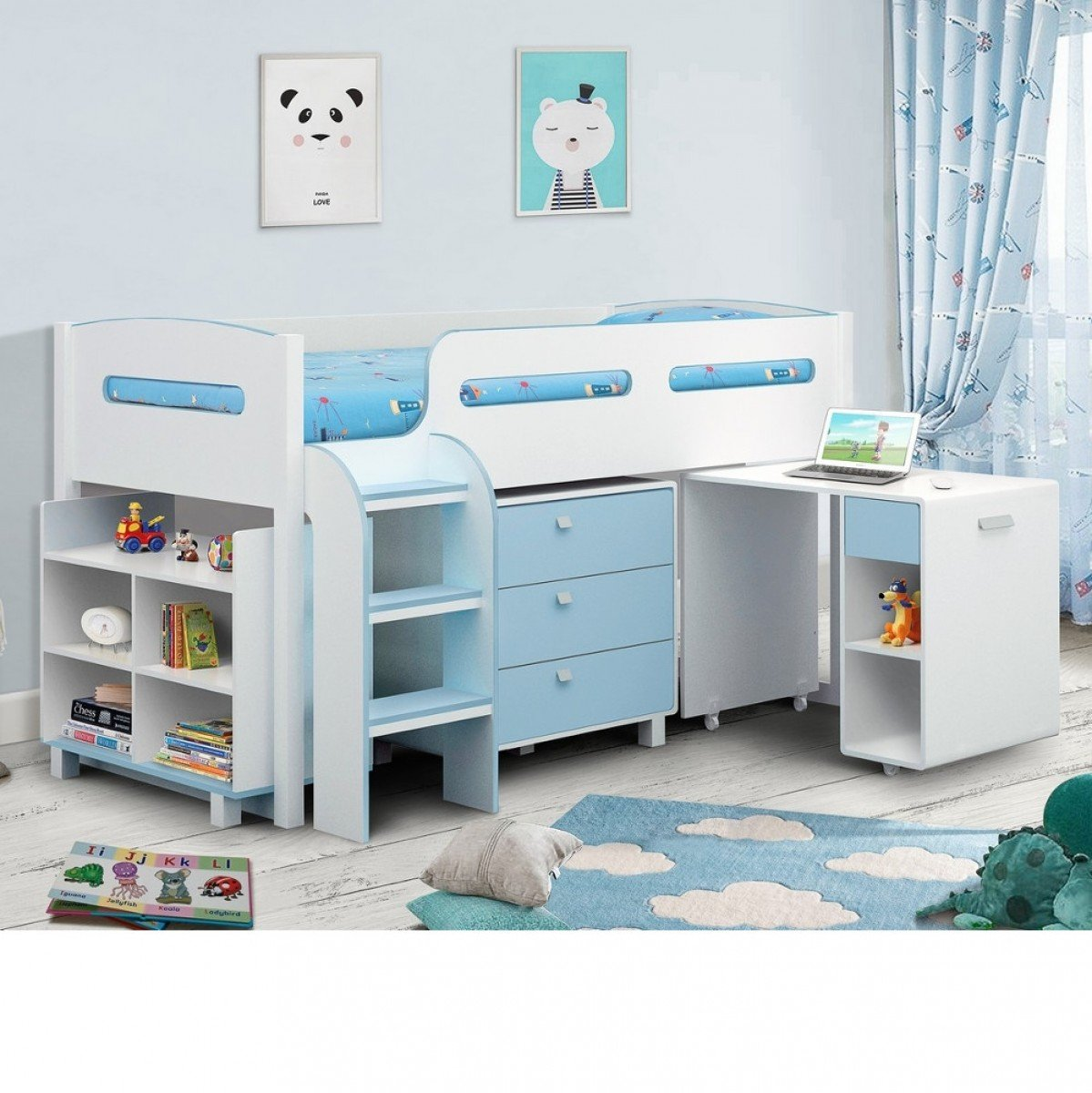 Kimbo Blue and White Wooden Mid Sleeper Cabin Bed