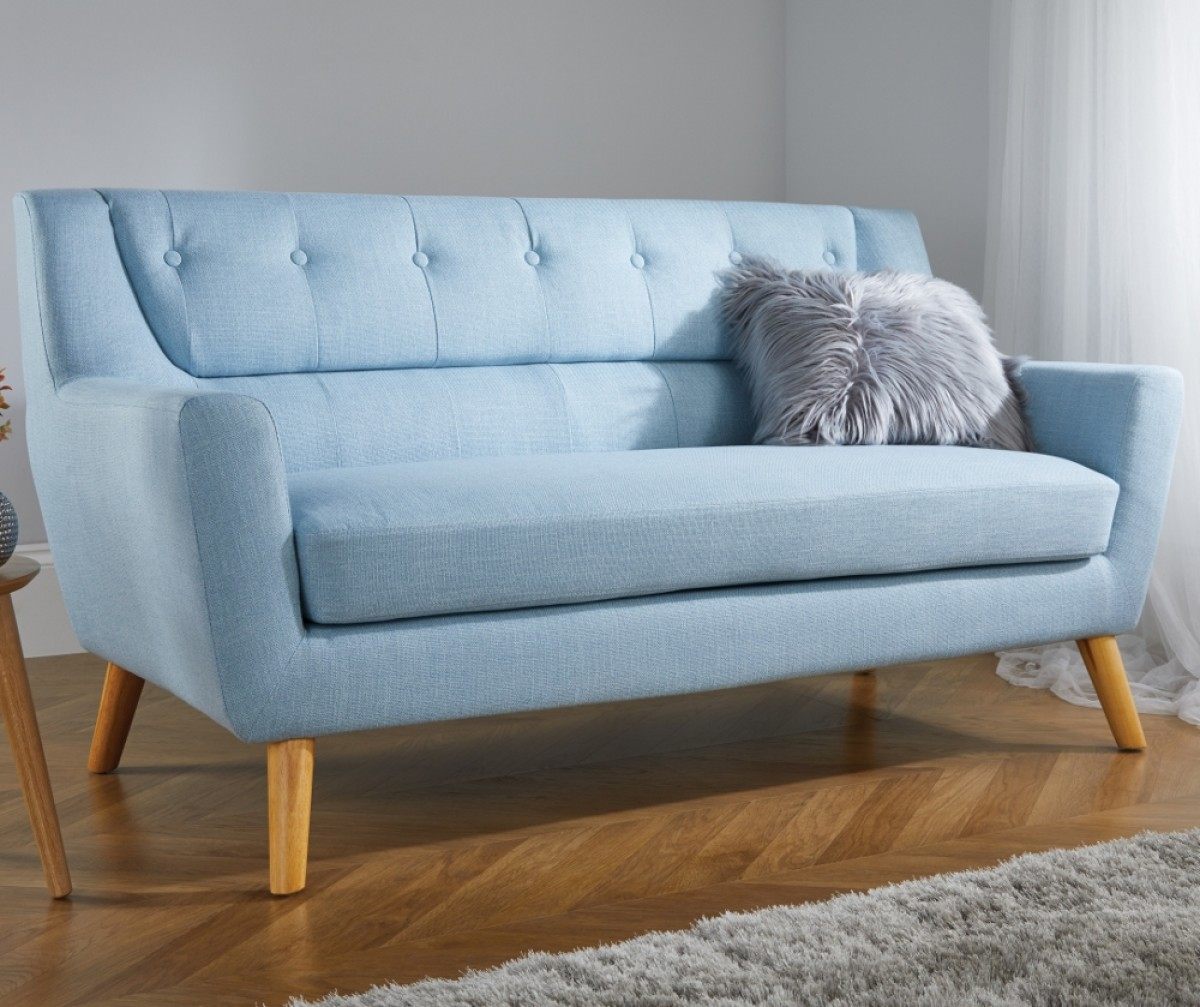 Lambeth 3 Seater Duck Egg Blue Fabric Sofa