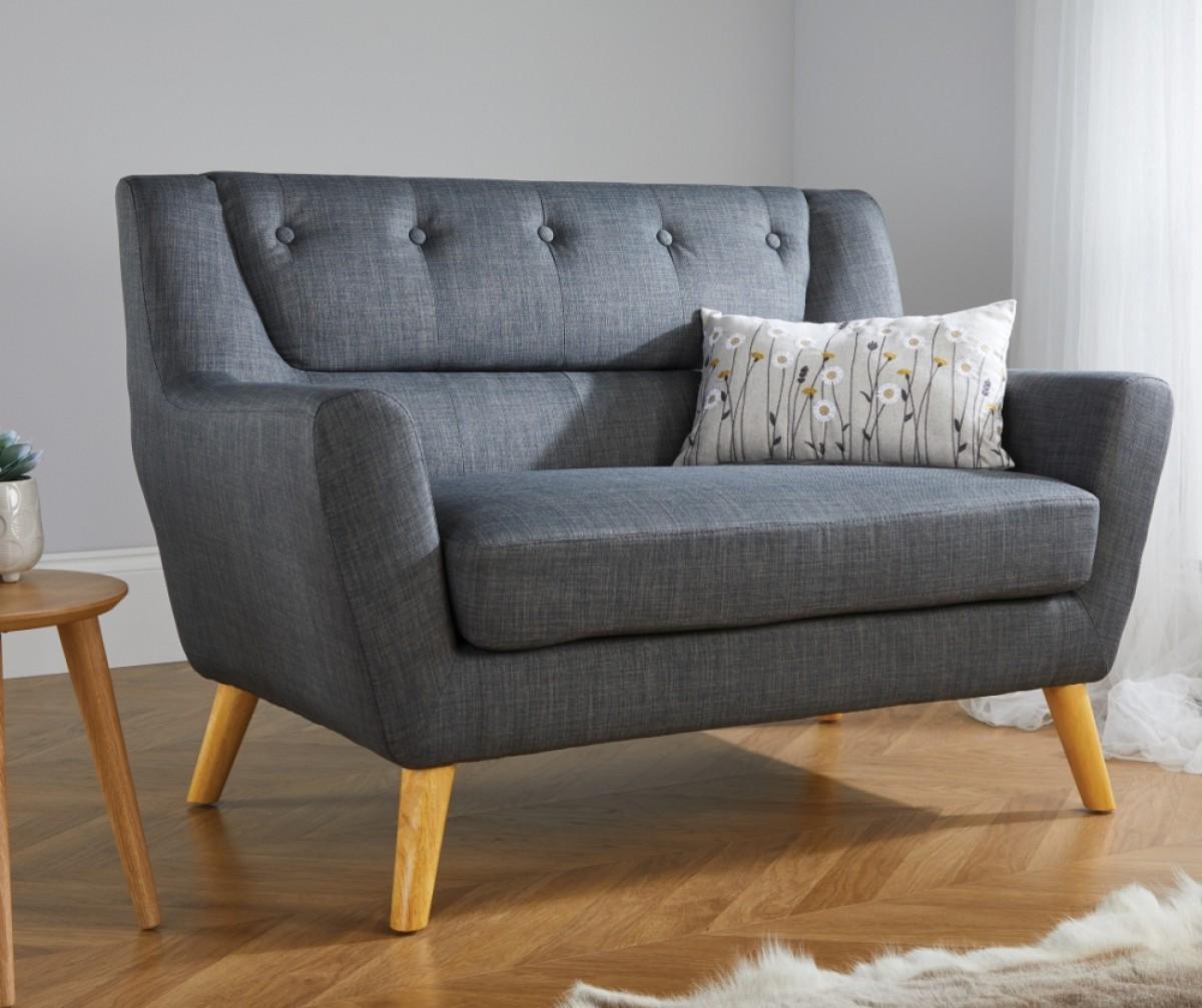 Lambeth 2 Seater Grey Fabric Sofa