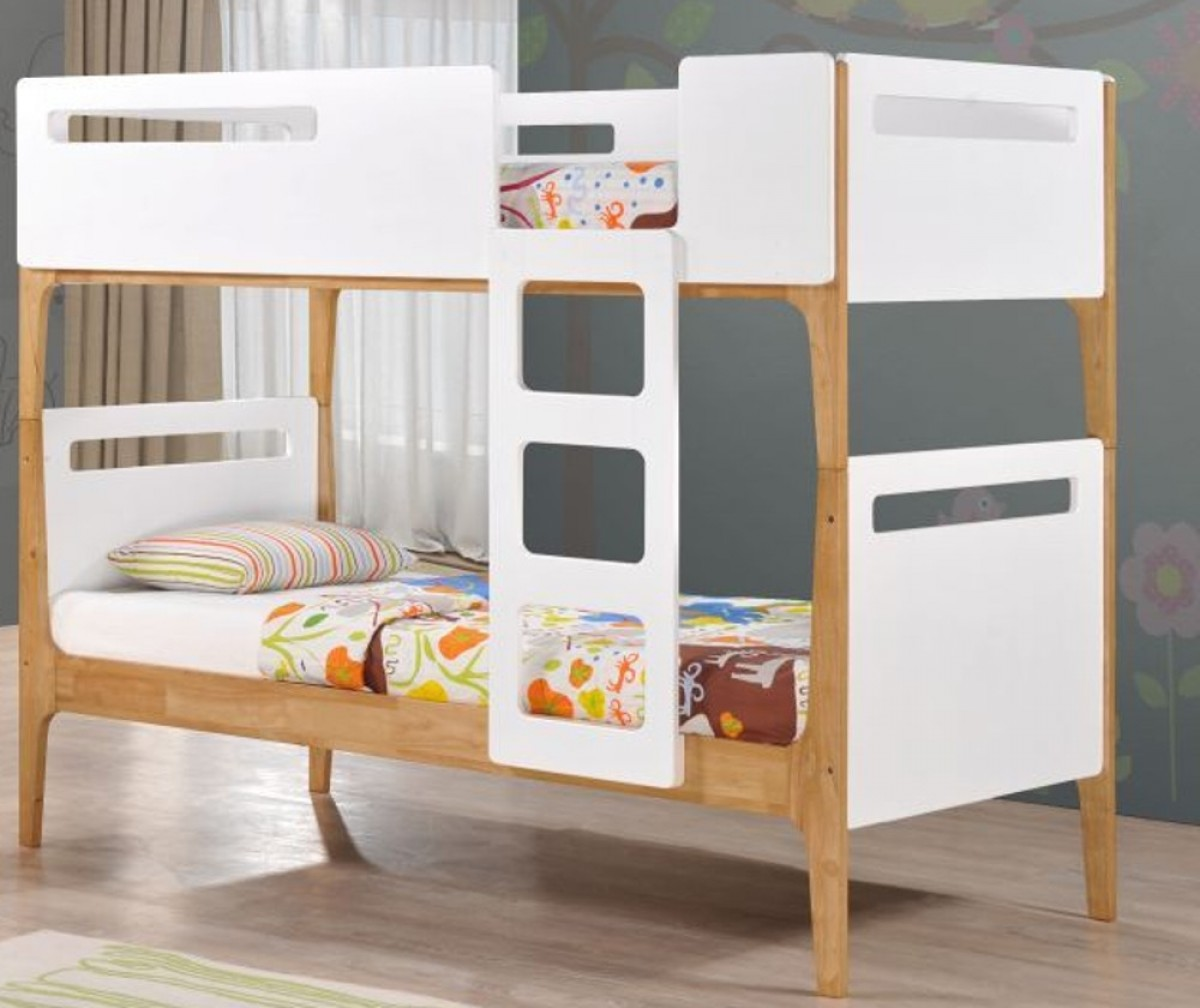 Mason White and Oak Wooden Bunk Bed