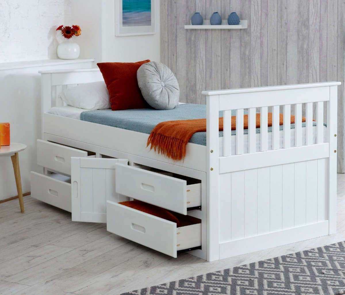 Captains White Wooden Storage Bed