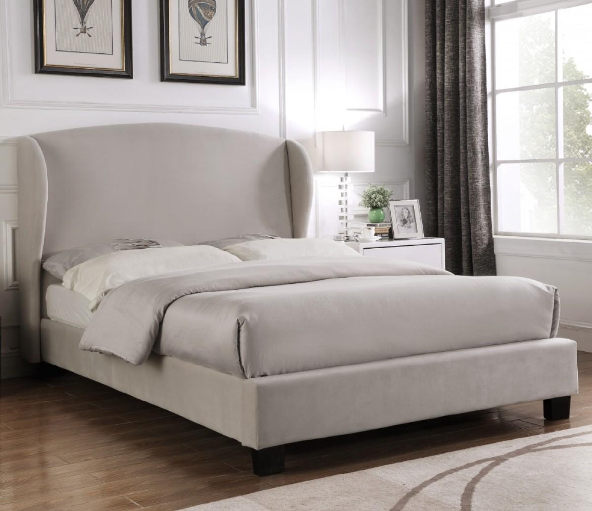 Blenheim Light Grey Velvet Fabric Winged Bed