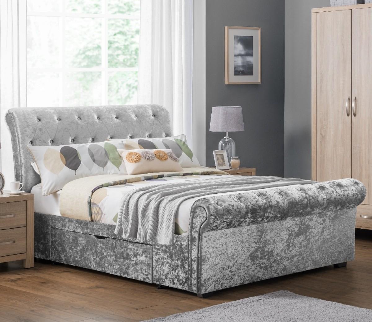 Verona Silver Crushed Velvet 2 Drawer Storage Bed