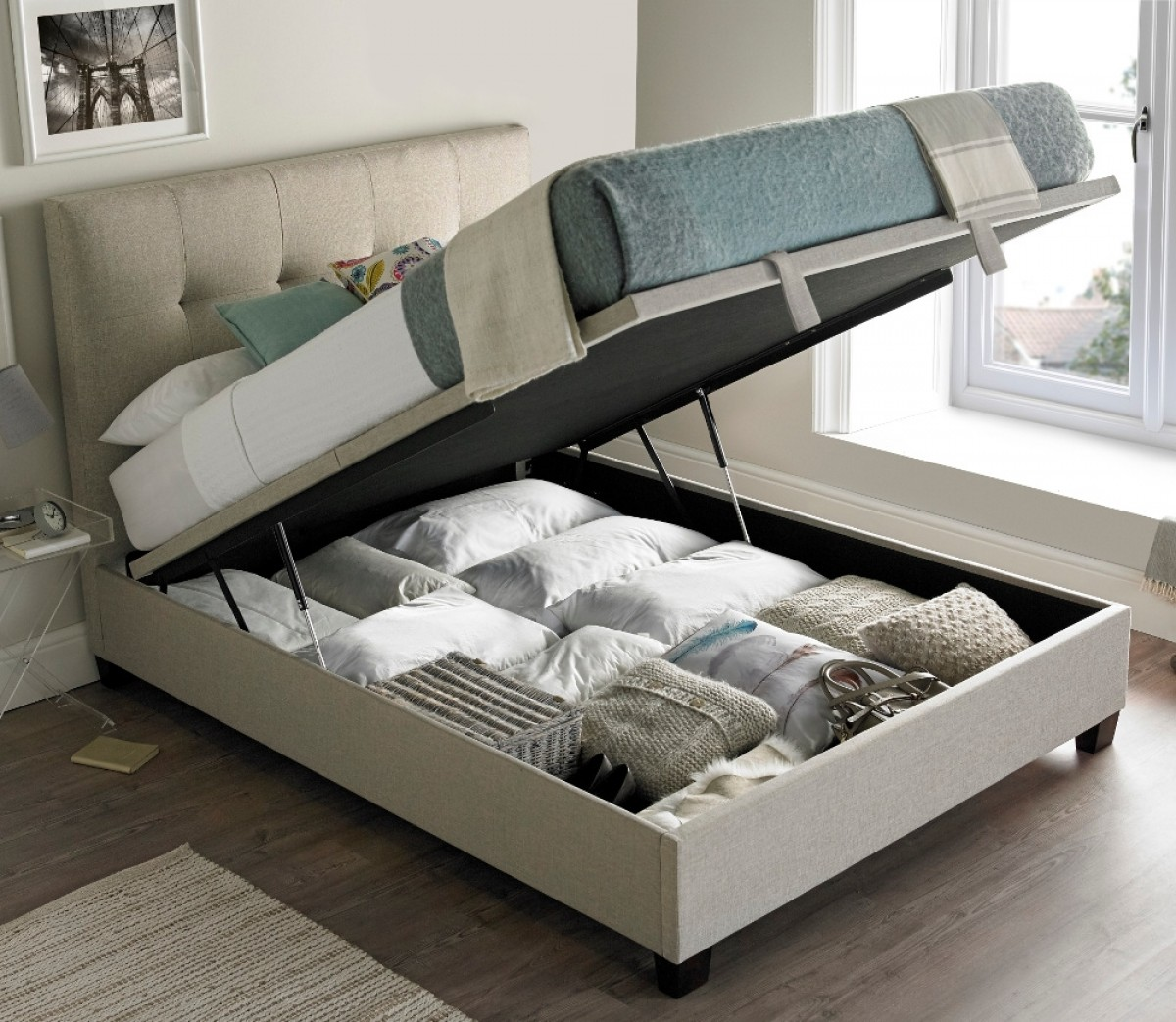Walkworth Oatmeal Fabric Ottoman Storage Bed