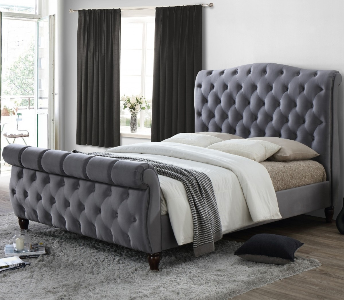 Colorado Grey Velvet Fabric Sleigh Bed