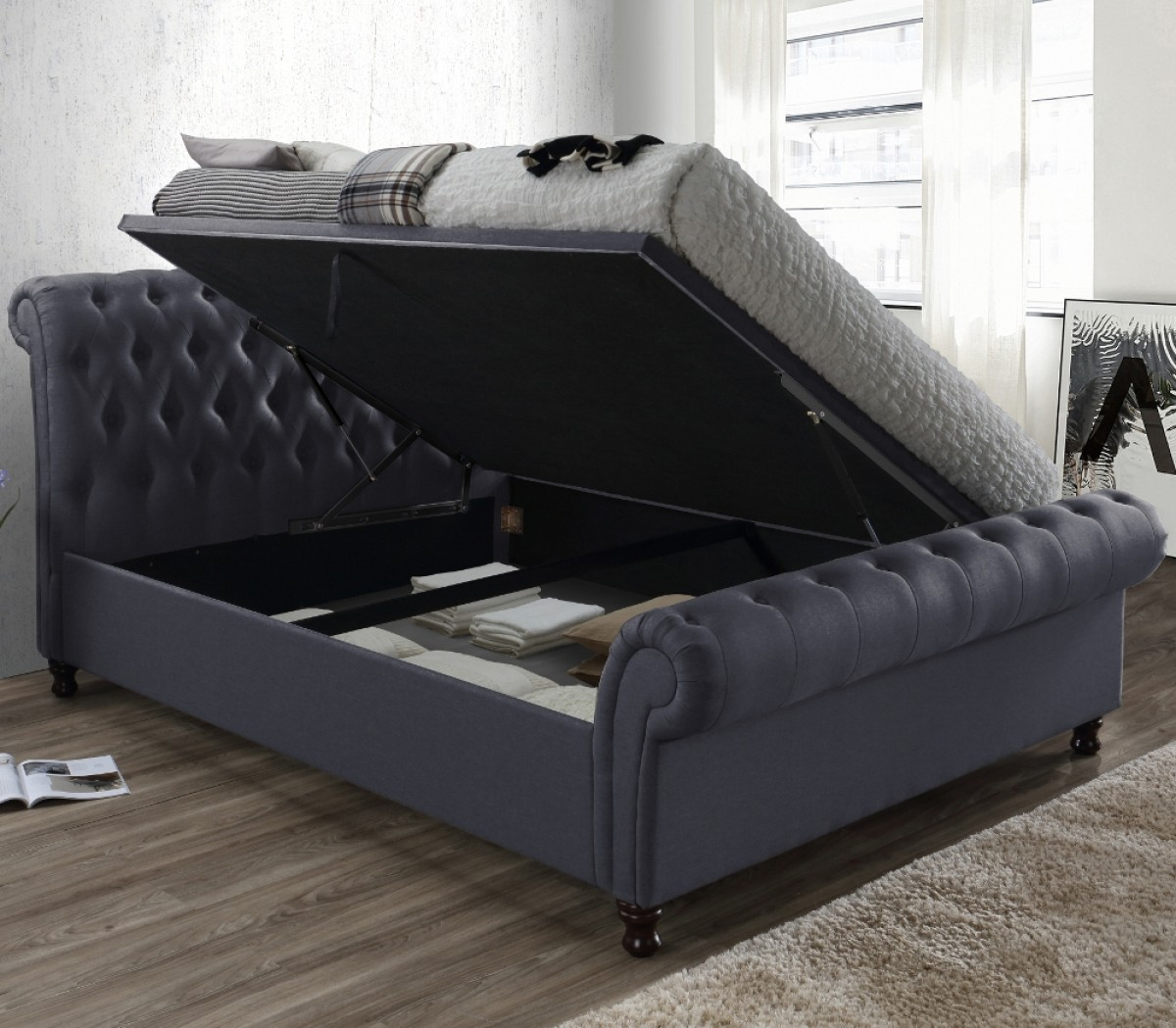 - Castello Charcoal Fabric Ottoman Scroll Sleigh Bed