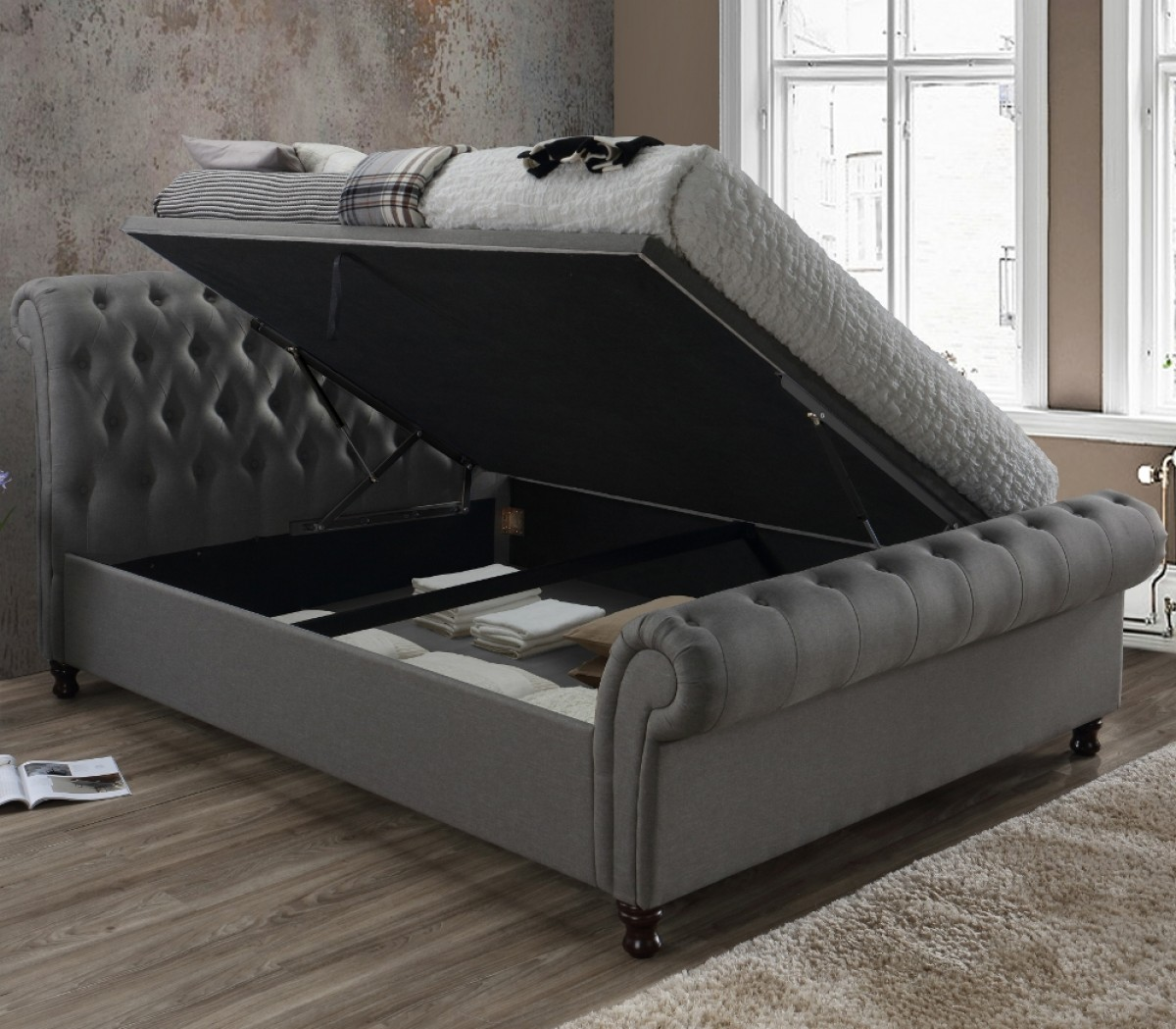 Castello Grey Fabric Ottoman Scroll Sleigh Bed
