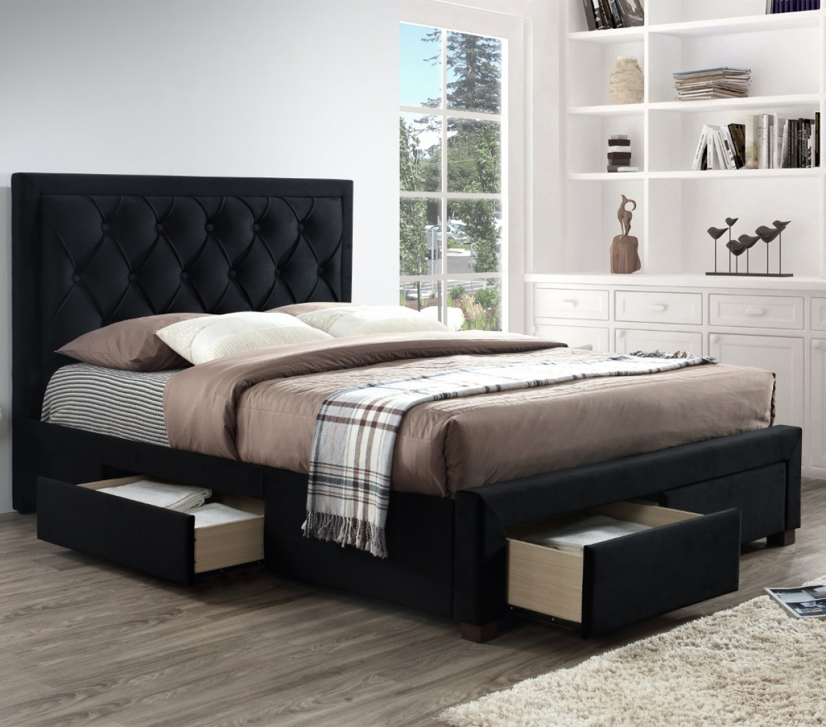Woodbury Black Velvet Fabric 4 Drawer Storage Bed