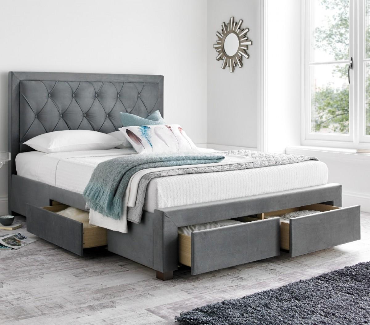 Woodbury Grey Velvet Fabric 4 Drawer Storage Bed