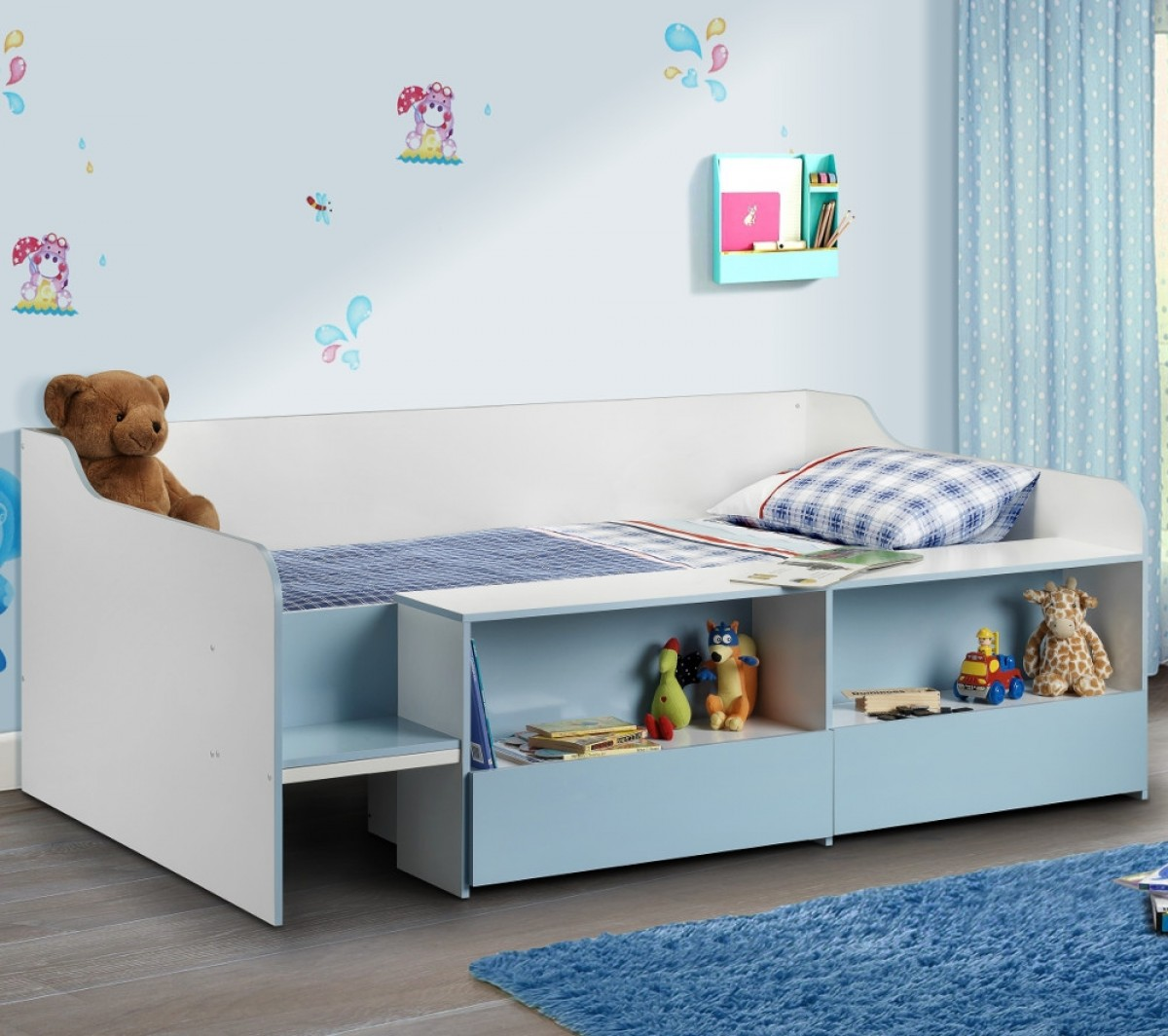 Stella Blue and White Wooden Kids Low Sleeper Cabin Storage Bed
