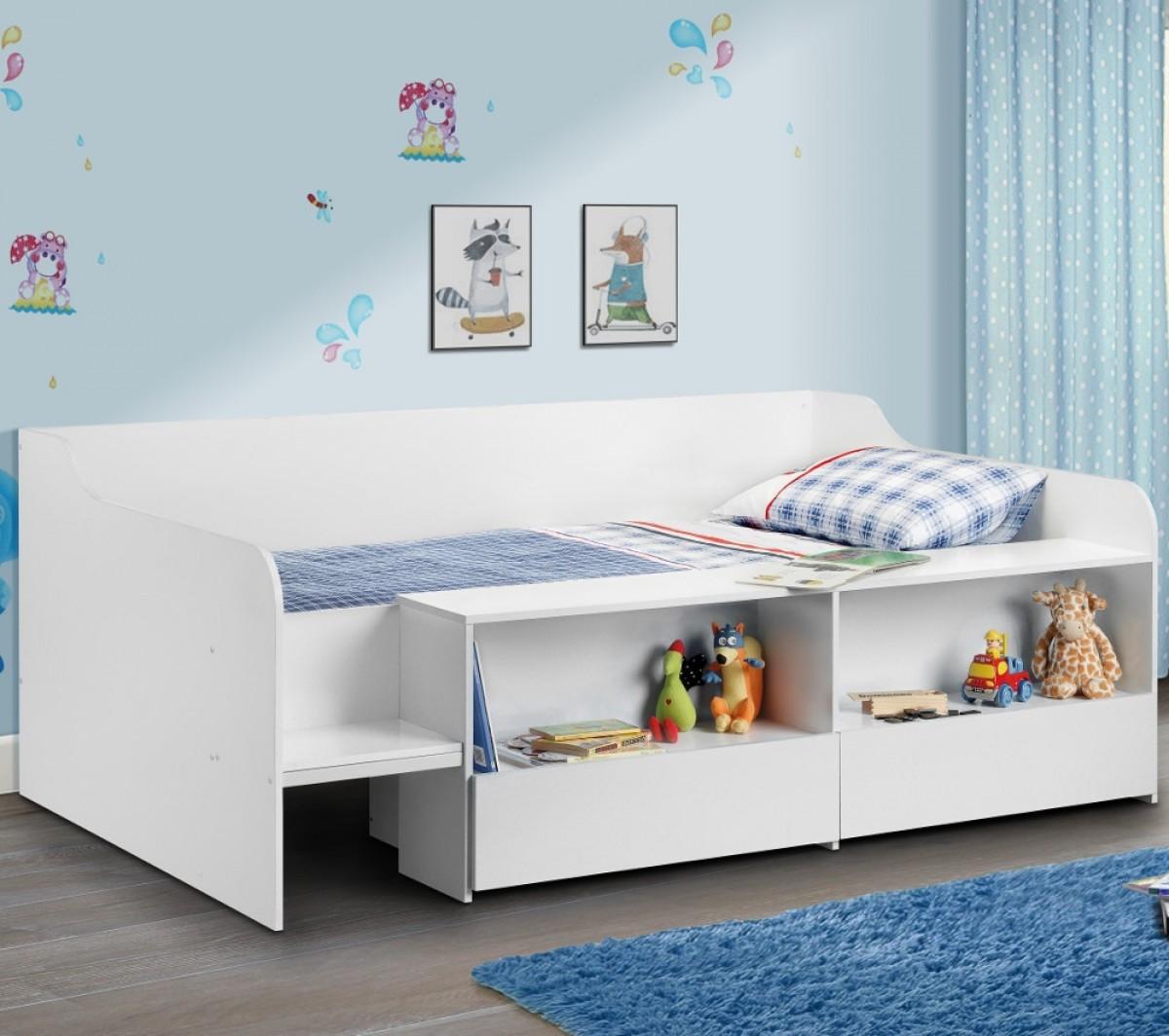 Stella White Wooden Kids Low Sleeper Cabin Storage Bed