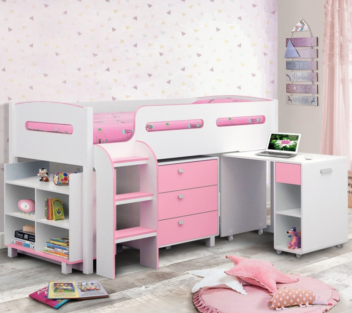 Kimbo Pink and White Mid Sleeper Cabin Bed