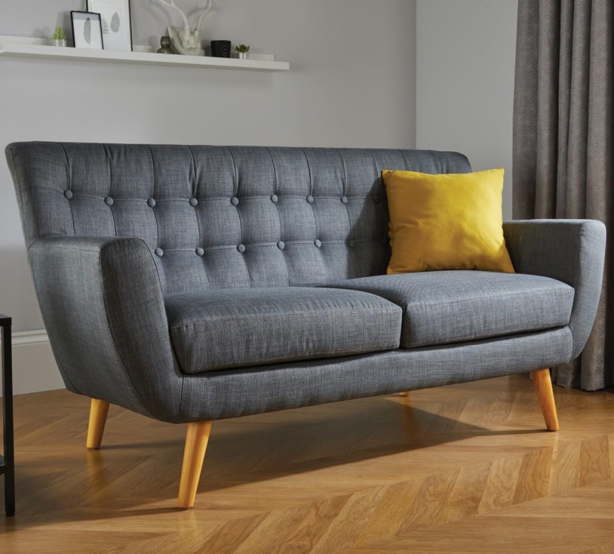 Loft 3 Seater Grey Fabric Sofa