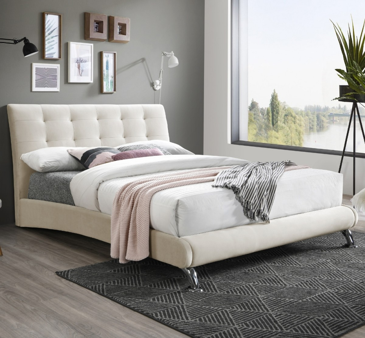 Hemlock Warm Stone Velvet Fabric Bed