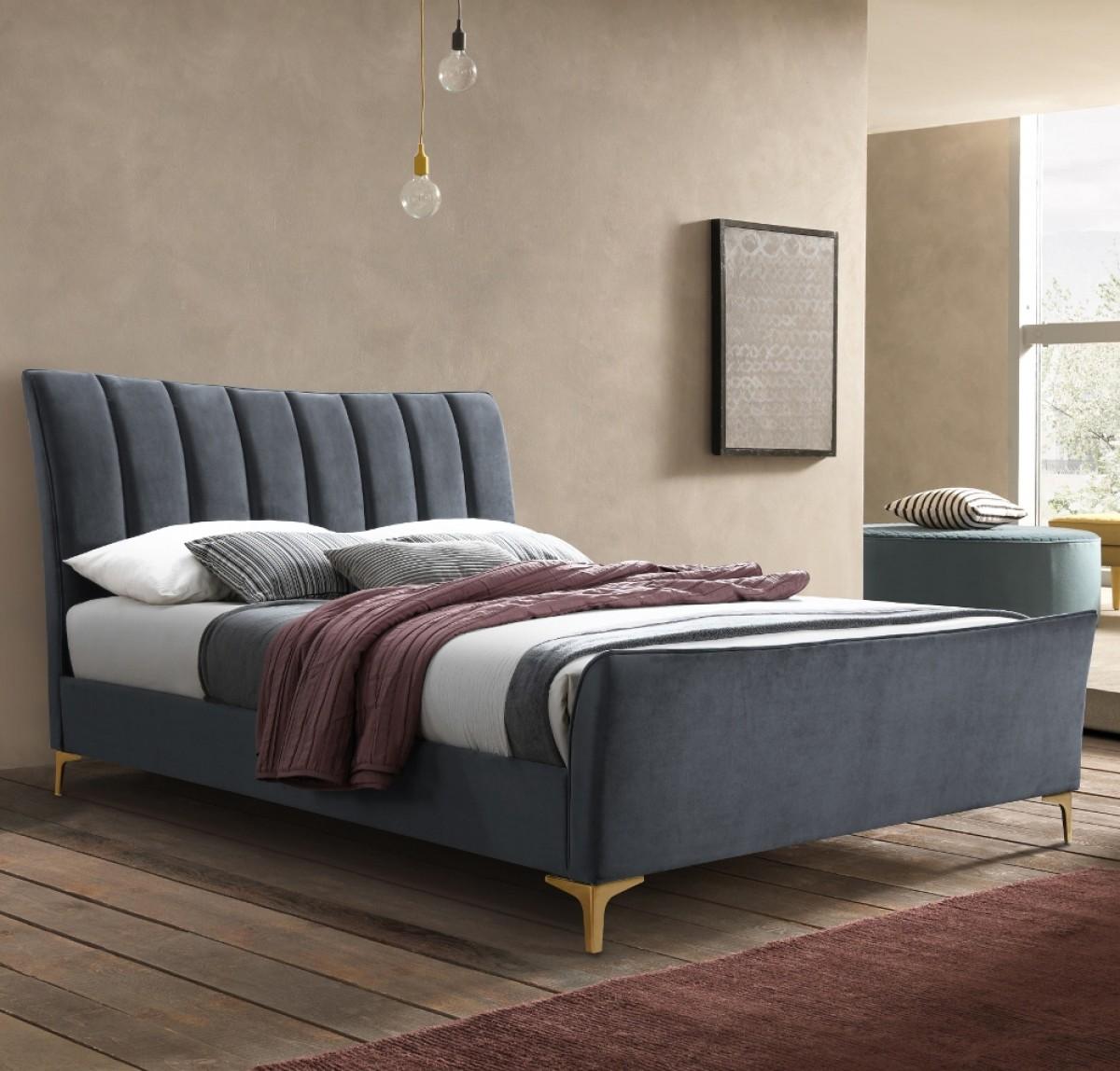 Clover Grey Velvet Fabric Bed