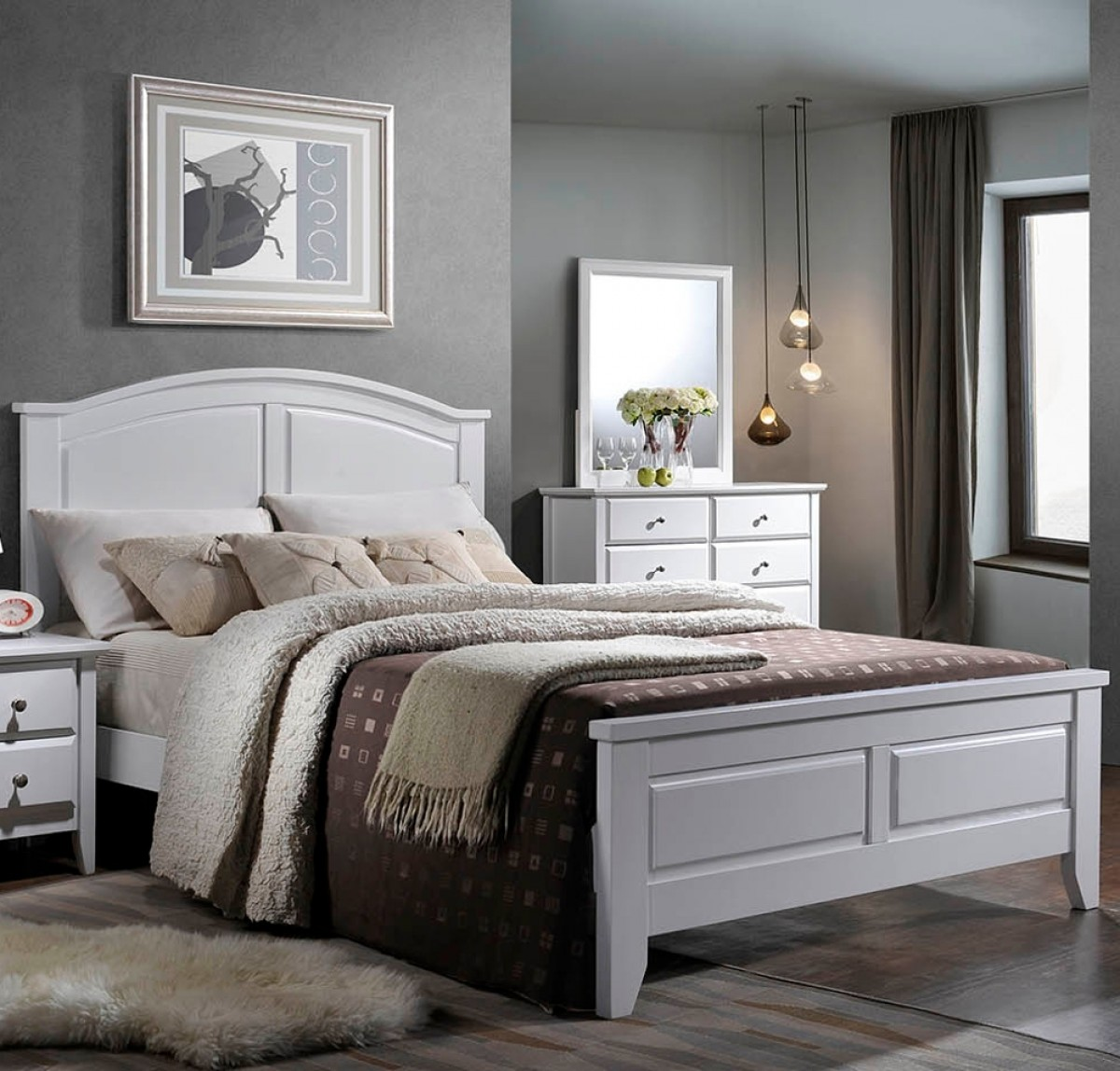 Parma White Wooden Bed
